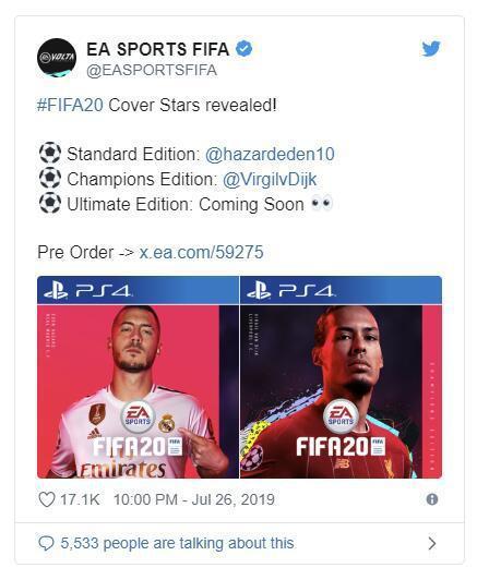 EA《FIFA 20》标准版与冠军版封面球星正式公开