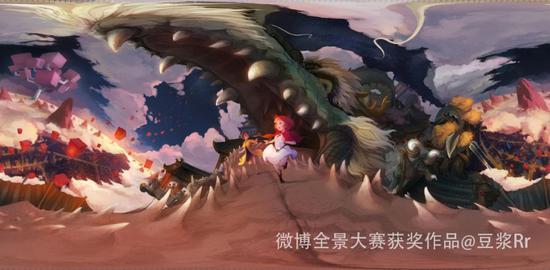 将巨龙、阁楼等中国元素与纪念碑谷中的罗尔母女相结合的全景手绘佳作。