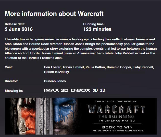 电影《魔兽》时长公布 123分钟带你畅游艾泽拉斯