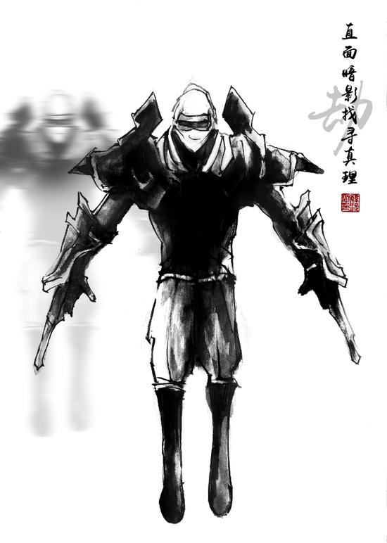 黑白插画英雄联盟_