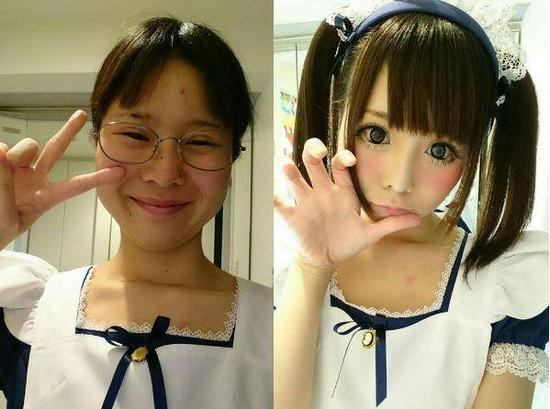 同一个人,同一件衣服,化妆前后判若两人。化妆前,她是一个小眼睛、单眼皮的朴素女孩,化妆后,她变身清纯可爱的二次元美少女,一双大眼睛与前者形成鲜明对比。