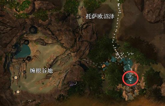 在上图红圈标示的地方有一个破损的魔像,上去跟他对话会触发一个护送事件。