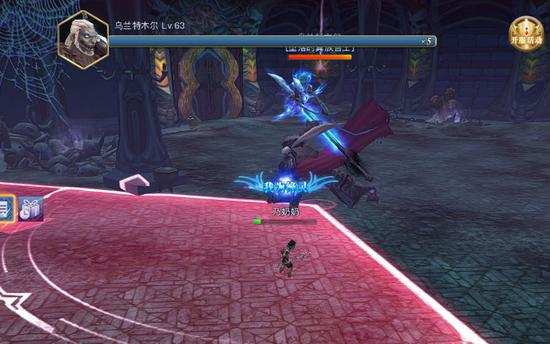 boss蓄力1秒,后对玩家释放技能造成伤害,貌似是无法躲避的,默默承受吧。。。。