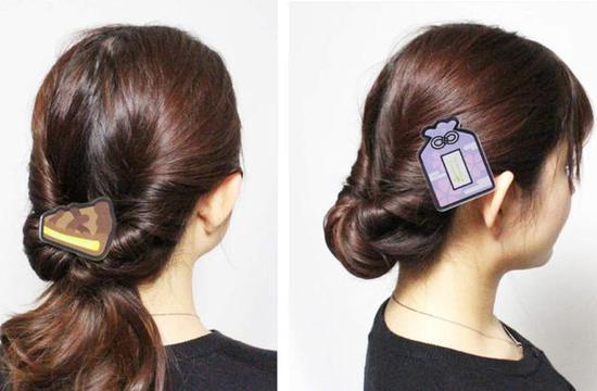 工藤新一的柠檬派与服部平次款的紫色御守发夹。