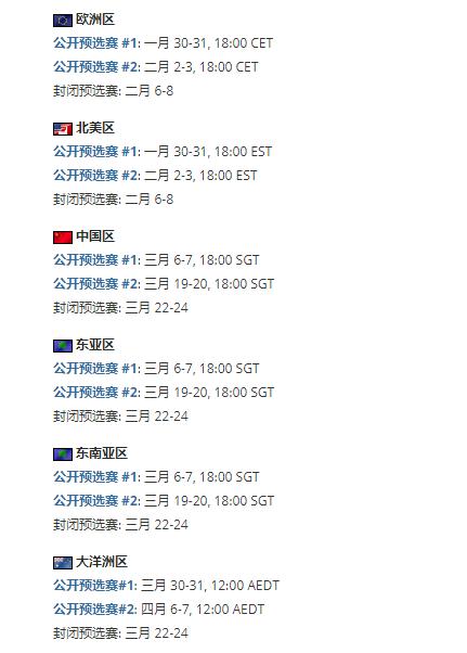 大洋洲封闭预选赛时间应为四月,本图直译自HLTV