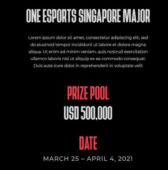 ONE Esports宣布举办新加坡Major