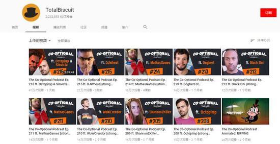 Totalbiscuit自己的Youtube频道,最近的视频是25号上传的