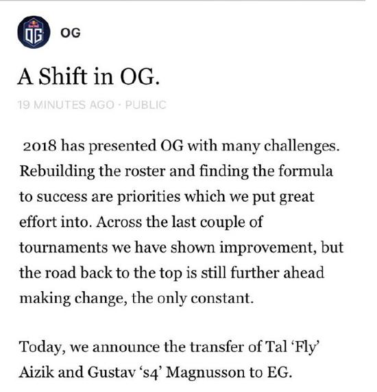 Og官博宣布Fly与S4离队