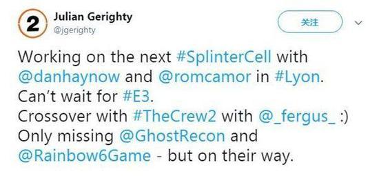 Julian Gerighty表示制作《细胞分裂》的同时,还点名了其他两位创意总监
