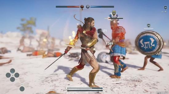 希腊与雅典的15v150征服挑战,蓝色为雅典军队,画面中是一位雇佣兵