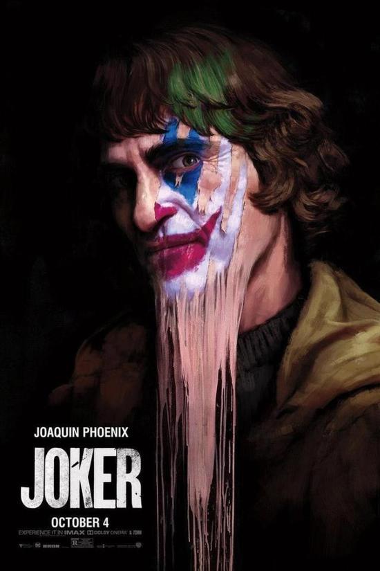DC电影《小丑》新海报 脸上皮肤滑落露出小丑妆容