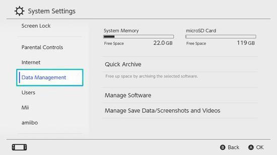 装上内存卡后,来到设置里的Data Management就可以转移截图和视频啦~