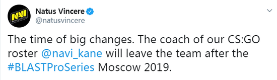 NaVi官宣教练Kane将在BLAST莫斯科站后离队