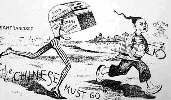 《排华法案》发布后,部分丑化、讽刺华人的漫画海报