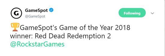 """消息公布后,R星在Twitter上感谢了GameSpot的支持,R星表示,""""荣幸之至""""。"""