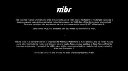 《【煜星平台网站】传奇终有一别,MIBR宣布与fer、TACO和DEAD解约》