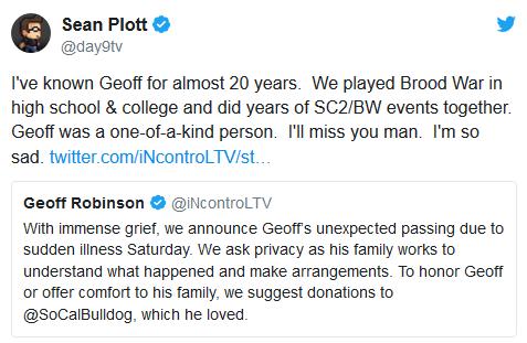 年轻的生命《星际争霸2》知名解说InControl离世
