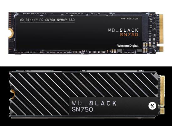 上:WD BLACK SN750 NVMe SSD无散热片版本,下:WD BLACK SN750 NVMe SSD带散热片版本