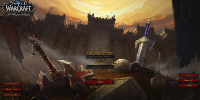 《魔兽世界》8.0登录界面曝光