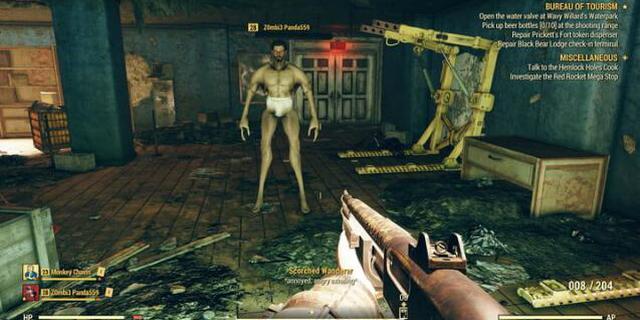 """《辐射76》bug:玩家只剩底裤 还有惊悚""""大长腿"""""""
