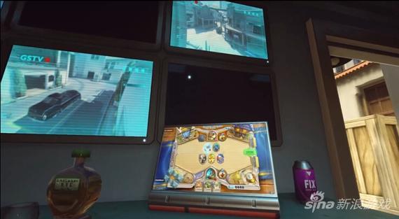 《守望先锋》好莱坞摄影棚中的平板电脑是炉石传说的游戏画面