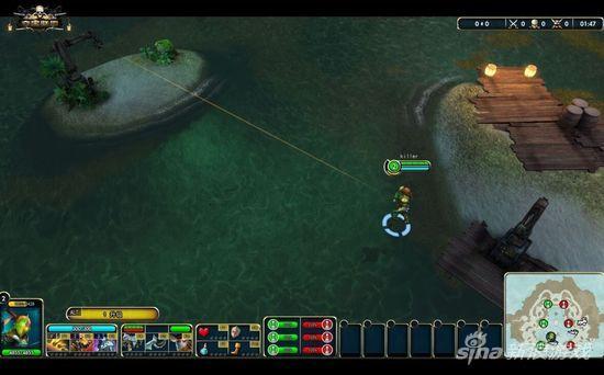 《夺宝联盟》英雄角色利用钩锁跳跃障碍