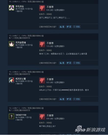Steam上的《全境封锁》评价