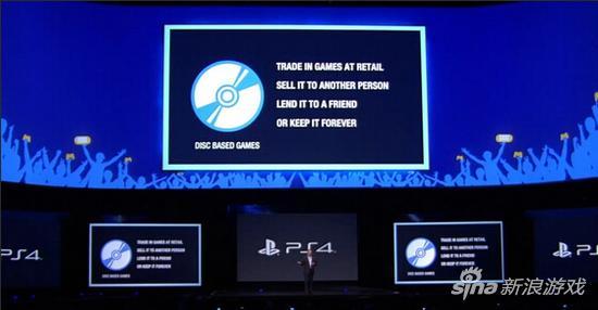 索尼2013年E3发布会宣布PS4支持二手游戏交易