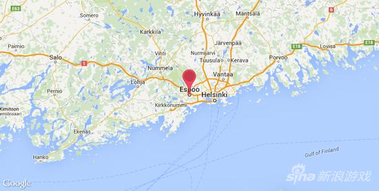 看看地图 Remedy工作室在芬兰