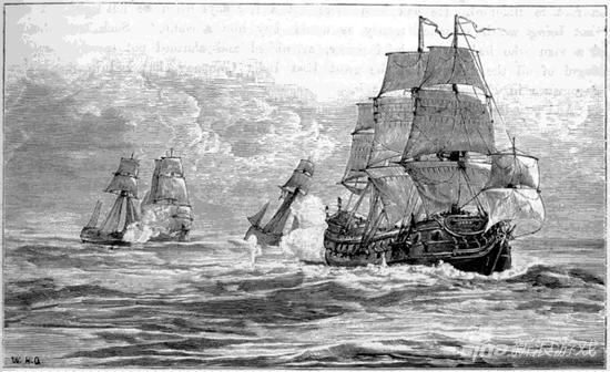 The Fancy和他的船队追逐 Ganj-i-sawai.