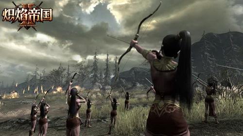 《炽焰帝国2》黑暗精灵弓箭手远程射击敌军