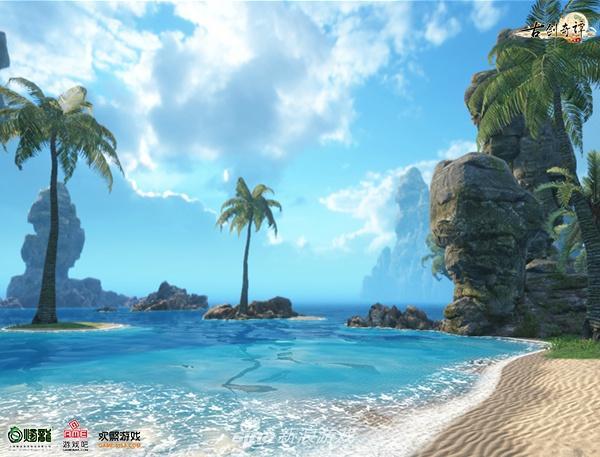 """古剑OL最新的海浪场景能让玩家真正感受到""""海风袭来,海浪拍岸""""的自由体验"""