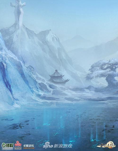 古剑OL太华山概念原画,环境光反射材质的研究或将雪山场景表现更为惊艳