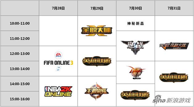 腾讯CJ2016舞台对战区明星赛事列表(点击查看大图)