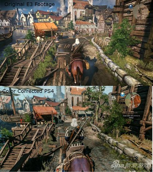 《巫师 3》的画质缩水当时在网上引发了大讨论,上图为当时玩家发出的对比图。