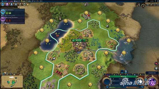 玩家可以花费所赚得的金币来开发城市周边区域、扩大城市领域