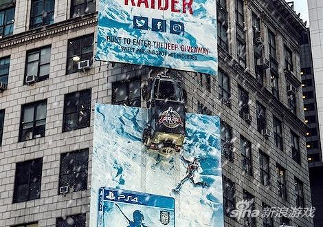 The tomb raider: the rise of advertising artificial snow in times square