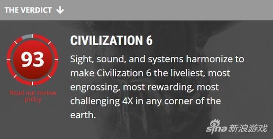 PC Gamer给了《文明6》93分的高分评价