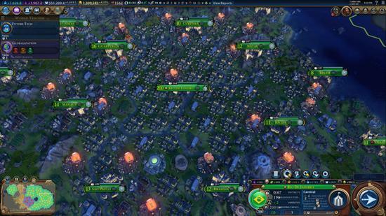 《文明6》玩家造出200人口超级大城 简直挤爆了