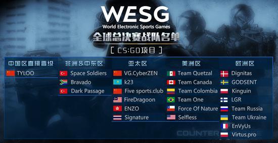WESG全球总决赛CS:GO战队阵容