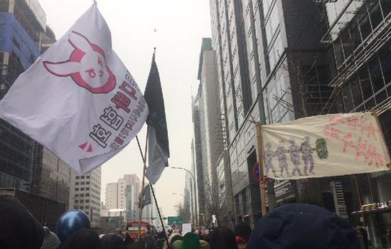 韩国女权运动中的D.Va兔子头像