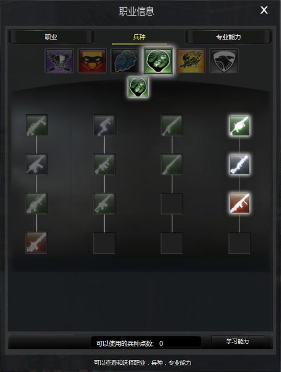 兵种天赋树决定你可以使用的武器