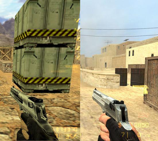 CS时代手枪除了沙鹰,真的没有什么可用的了(格洛克、USP两把初始枪除外),图片左为CS1.6,右为CS:S