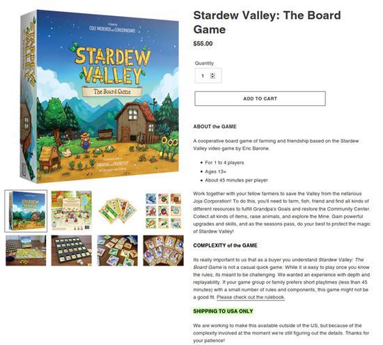 《星露谷物语》官方桌游上线 售价355元