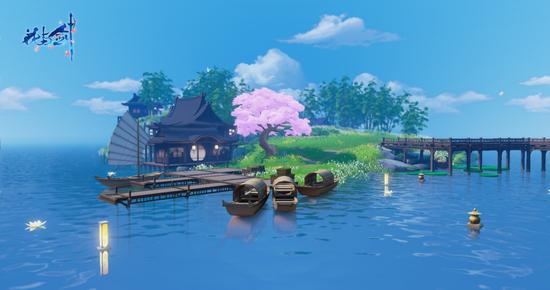 水天一色 湖心景致