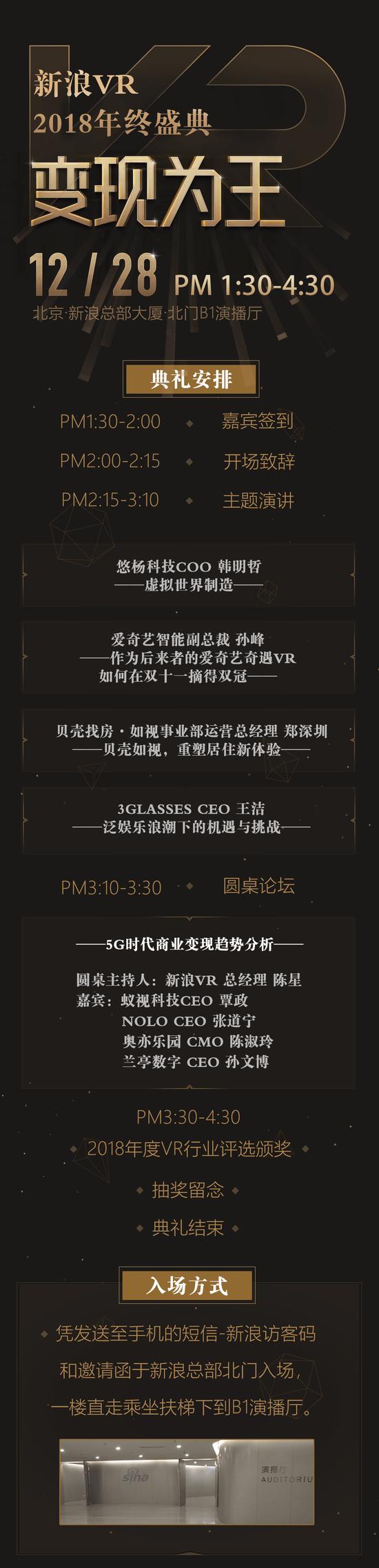 「新浪VR·变现为王2018年终盛典」流程全揭秘 12月28日不见不散!