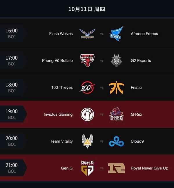 10月11日全球总决赛小组赛赛程