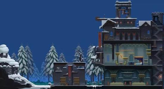 略显阴森的雪夜古堡地图