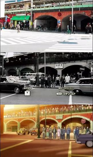 ↑《昭和物语》中的场景对比 往前不远便是东京站 ↑