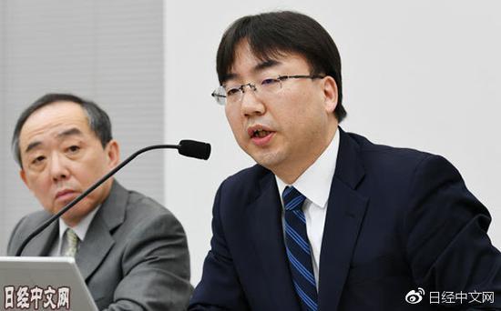 发表财报的任天堂古川社长(1月31日,大阪市)